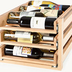 New arrival classical attique rustic wood furniture adjustable wooden drawer Sliding wine rack for wine storage rack