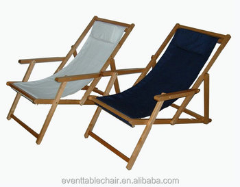 Beech Wood Garden Fabric Double Folding Beach Chair