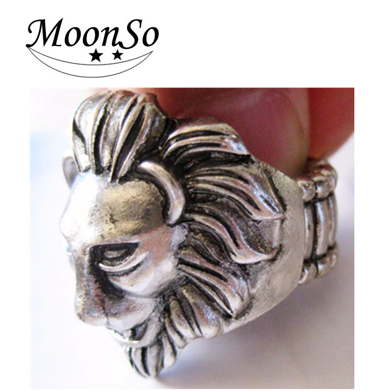 Fashion charm lion head ring alloy copper plated silve men's wedding ring jewelry AR1808