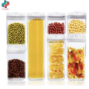 ZNK00038 Factory direct 7 Pieces 1900ML/1200ML/800ML/500ML Plastic Square Dry Food Cereal Storage Airtight Food Container Set