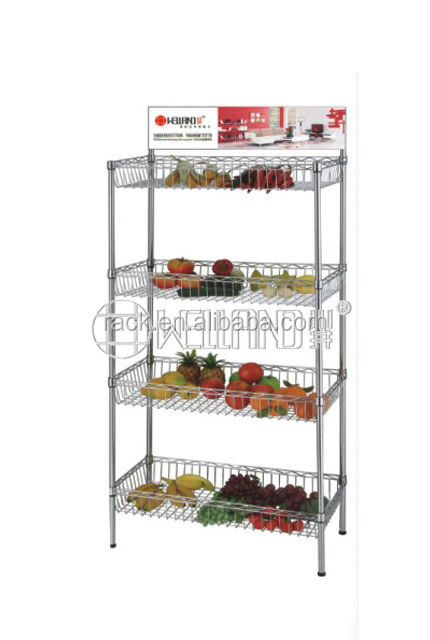 4 Tier Supermarket Wire Basket Displays With Advertising Brand,NSF Approval