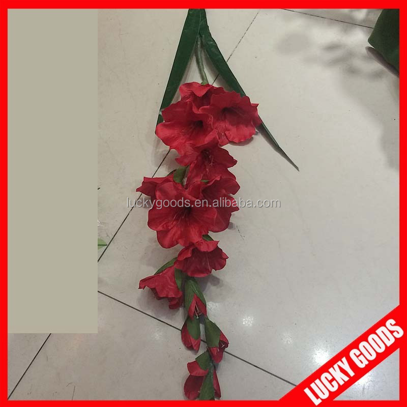 bulk red long stem artificial gladiolus flowers with 3 leaves