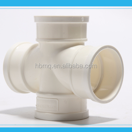 PVC Pipe Fittings Reducing Double Sanitary Sweep Tee with side inlet