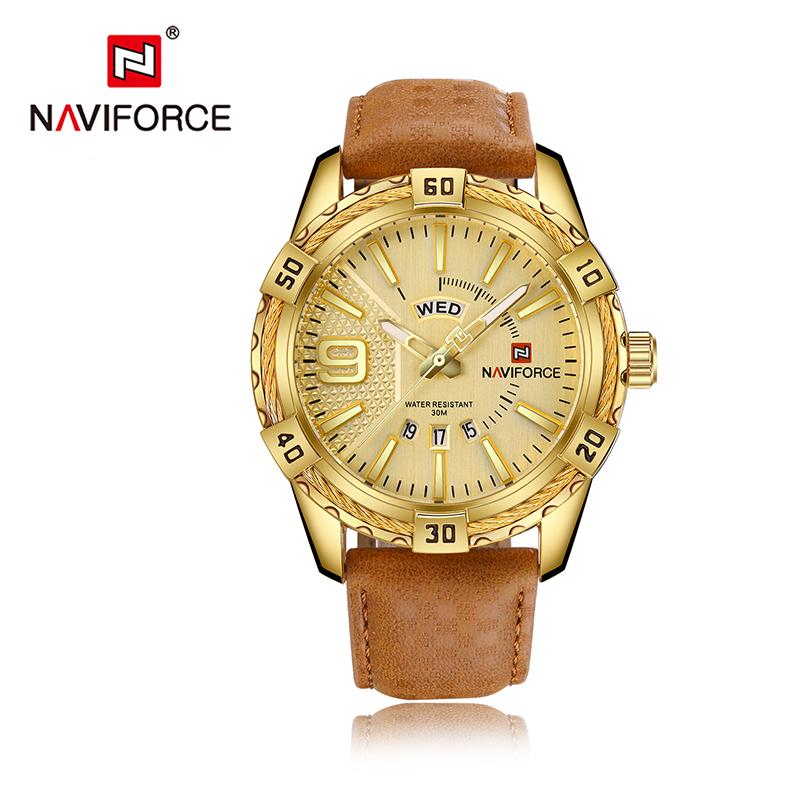 Top Brand NAVIFORCE Sport Watches Men Fashion Casual Quartz Watch Japan Waterproof Date Week Gold Wrist Watch montre homme Clock фото