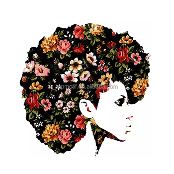 customized Fashion Flower Afro Girl vinyl Transfer For T-shirt