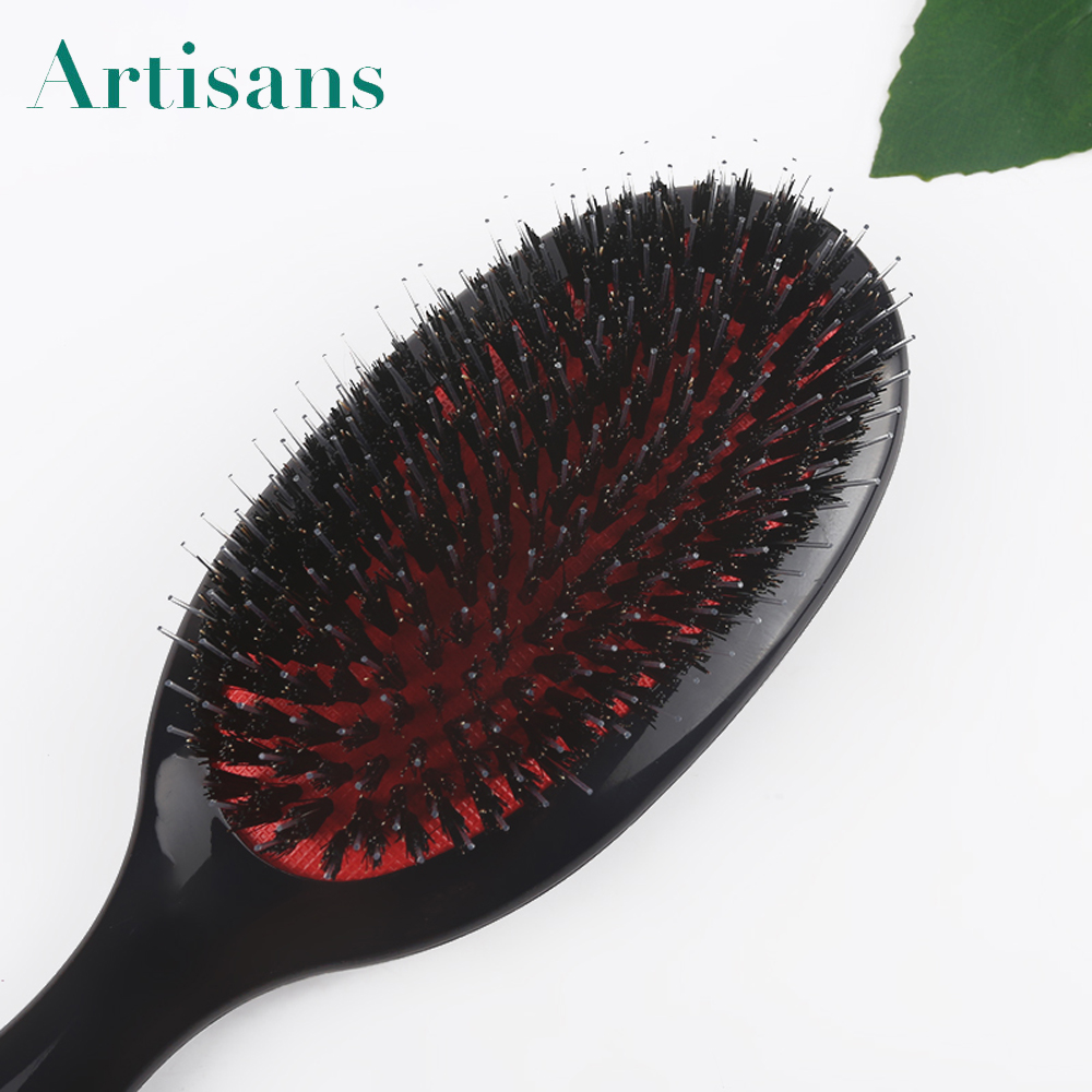 High Quality black plastic nylon boar bristle hair brush