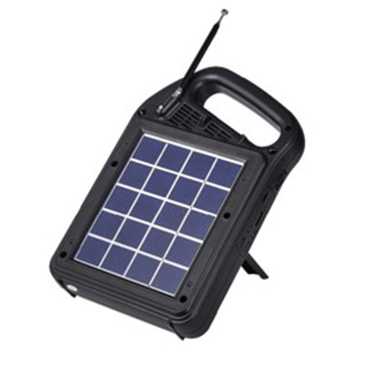 Multifunctional Portable Solar Rechargeable Powered Outdoor AM/FM Music Radio and Speaker with USB charging and LED light