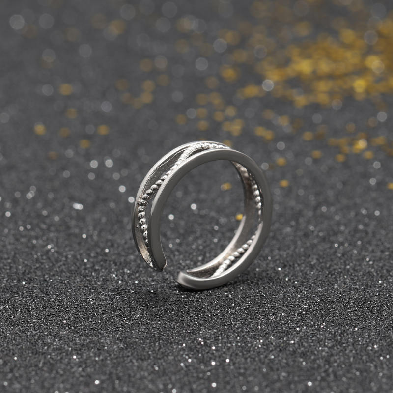 Modern Design Value Sterling Silver Jewelry Ring Hollow Tiny String Type Lots Couple 925 silver ring settings without stones