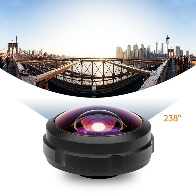 High quality portable mobile camera 238 degree full frame wide angle fisheye photography lens for samsung/ iphone