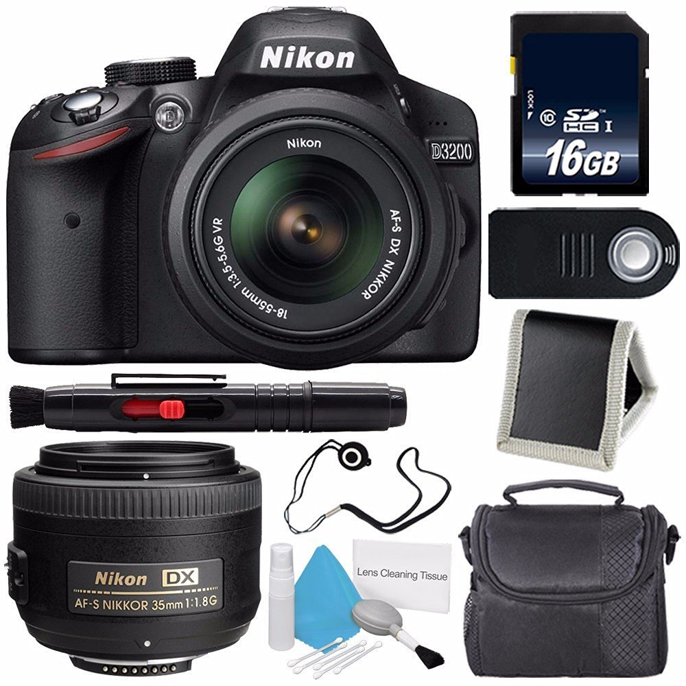 Nikon D3200 Digital Camera w/ 18-55 VR II Lens (International Model No Warranty) + Nikon AF-S DX NIKKOR 35mm f/1.8G Lens + 16GB SDHC Class 10 Memory Card Bundle 65