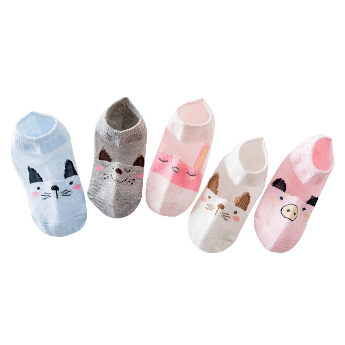Baby Cute Cartoon Socks,Jchen(TM) 5Pair Baby Boys Girls Socks Cartoon Floor Socks Anti-Slip Baby Step Socks ((L) Length:16-18CM/6.2''-7.0'', Pink)