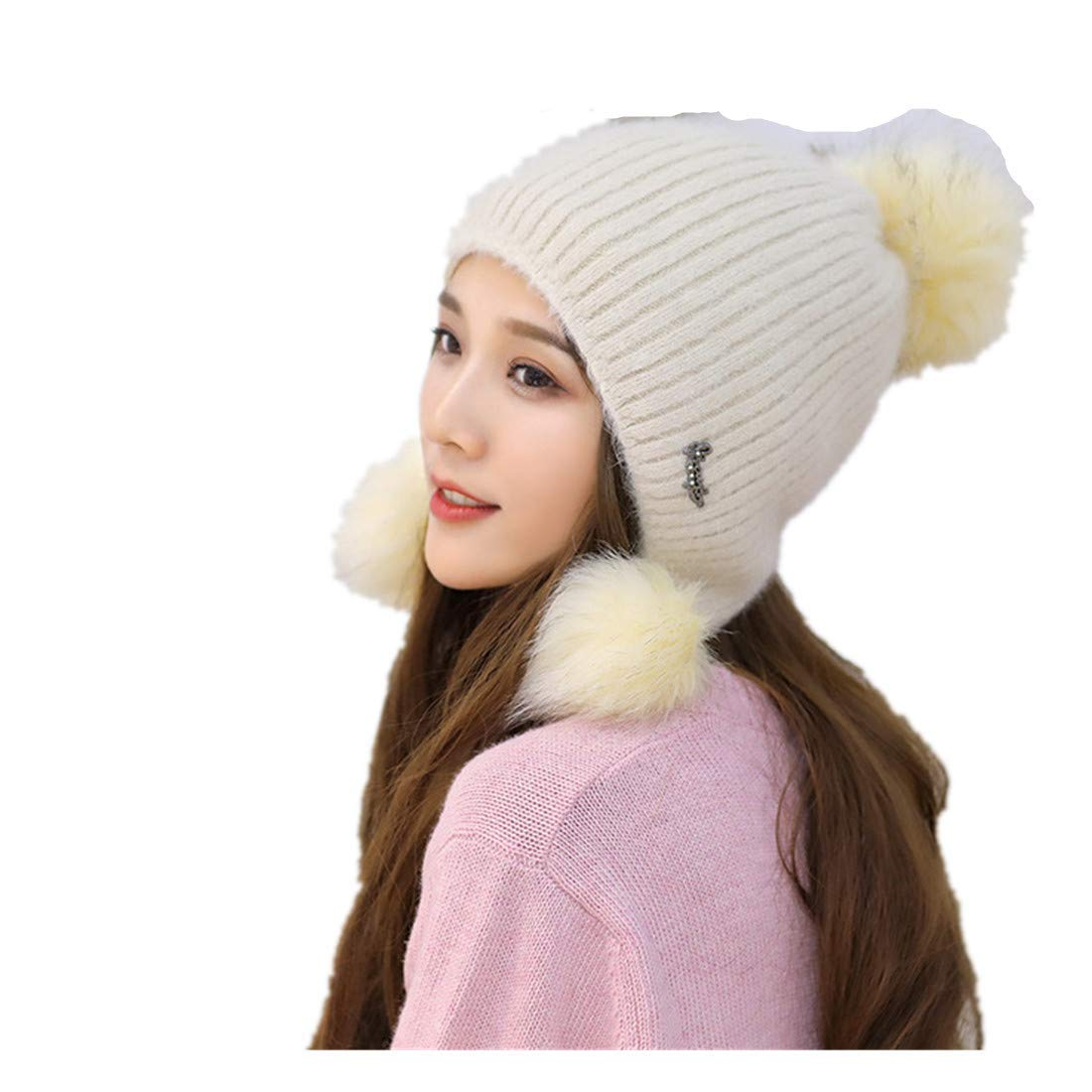 2dc231733d4ea Get Quotations · Globalwells Warm Knitted Hairball Lovely Berets Hat Fleece  Lined Winter Outdoors Beanie Skull Cap