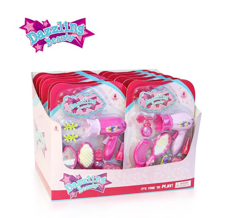 7 Piece Plastic Cheap Girls Make Up Toy Set Cartoon Beautiful Girl
