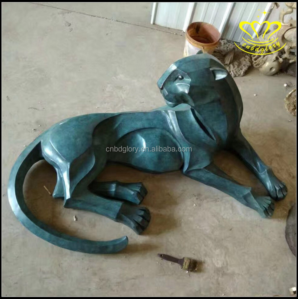 Bronze animal sculpture life size leopard statue