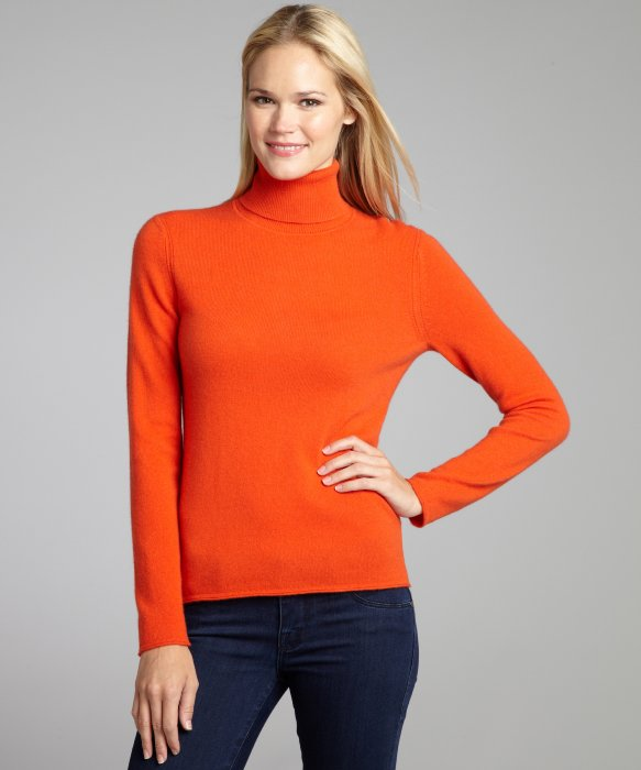 High Quality Hot Orange Tight Cashmere Turtleneck Women Sweater ...