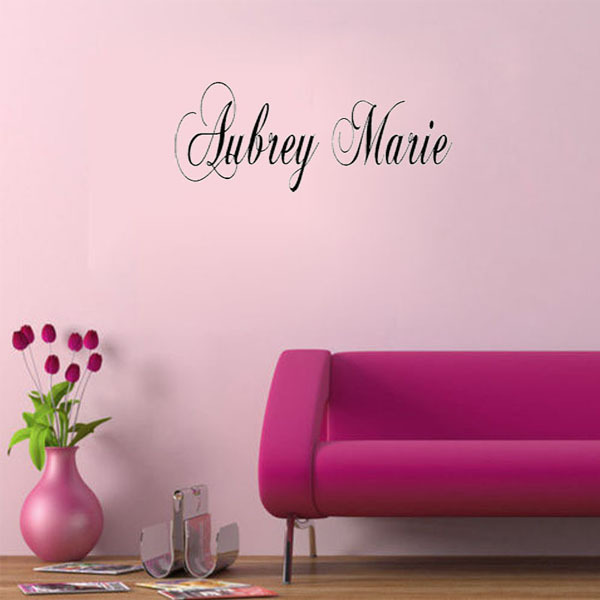 Simple Style Personalized Wall Sticker Large Fancy Custom Name Vinyl Lettering Wall Decal Modern Home Decor