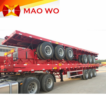 Maowo brand customized carbon steel type twist lock container bulk cargo carrier semi flatbed trailer