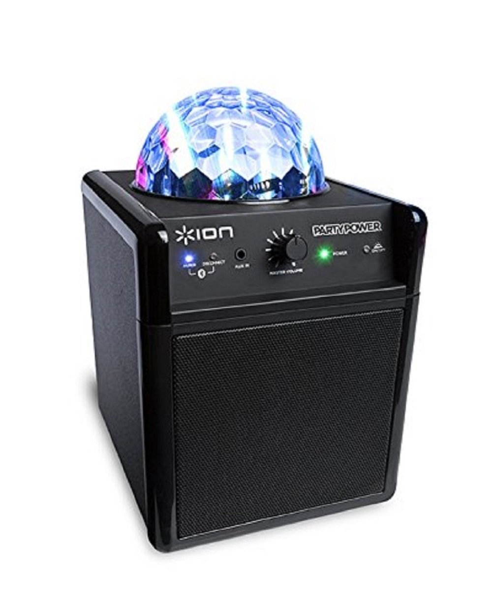 ION Audio Party Power | Portable Bluetooth Speaker System with Party Lights, Rechargeable Battery, and Auxiliary Input (10W) (Certified Refurbished)