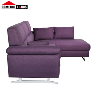 Top quality purple fabric combined sofa sectional couch with chaise