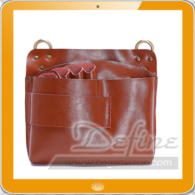 Large Leather Hairdresser Tool Bag Barber Scissors Pouch with Belt