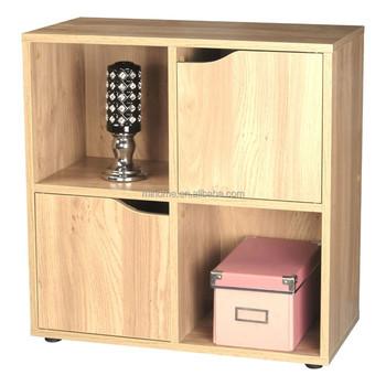 Charmant Wooden Storage Cubes 2 Door 4 Cube Magazine CD Organiser Furniture Cabinet  Oak