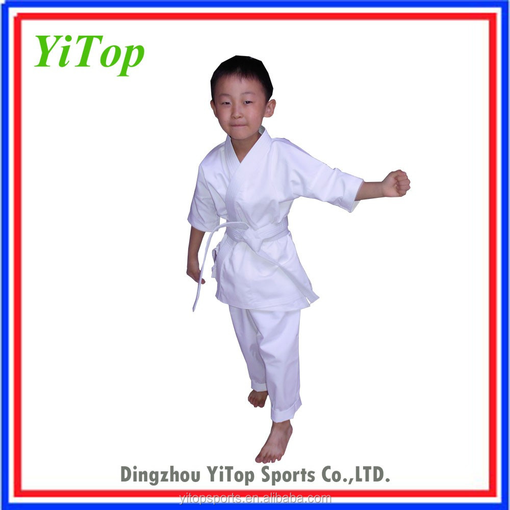 WKF approved high quality white kids karate suit for training comfortable karate uniform
