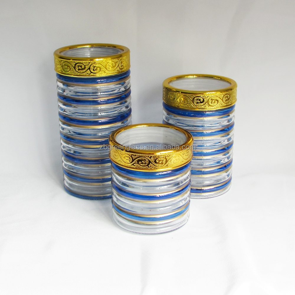 Wholesale hand painted glass storage /candy/cookie jars with plastic lids