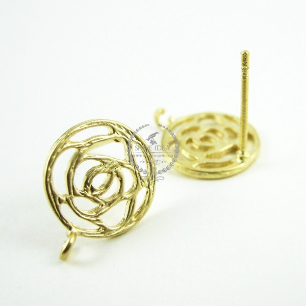 11mm matte gold filigree rose earrings stud DIY supplies findings with hoop 1705023