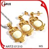 young girl pearl jewelry set owl necklace and earrings set 18k gold jewellery