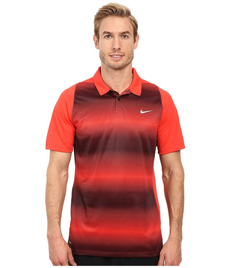 16586ba48090 Get Quotations · Nike Tiger Woods VL Max Sphere Stripe Golf Polo 2016 Light  Crimson Black Reflective
