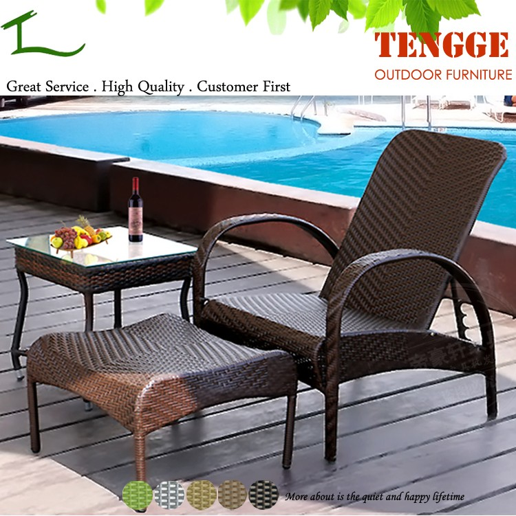 Tg15 0252 3 Pieces Pool Side Wicker Lounge Chair Ottoman Buy Swimming Pool