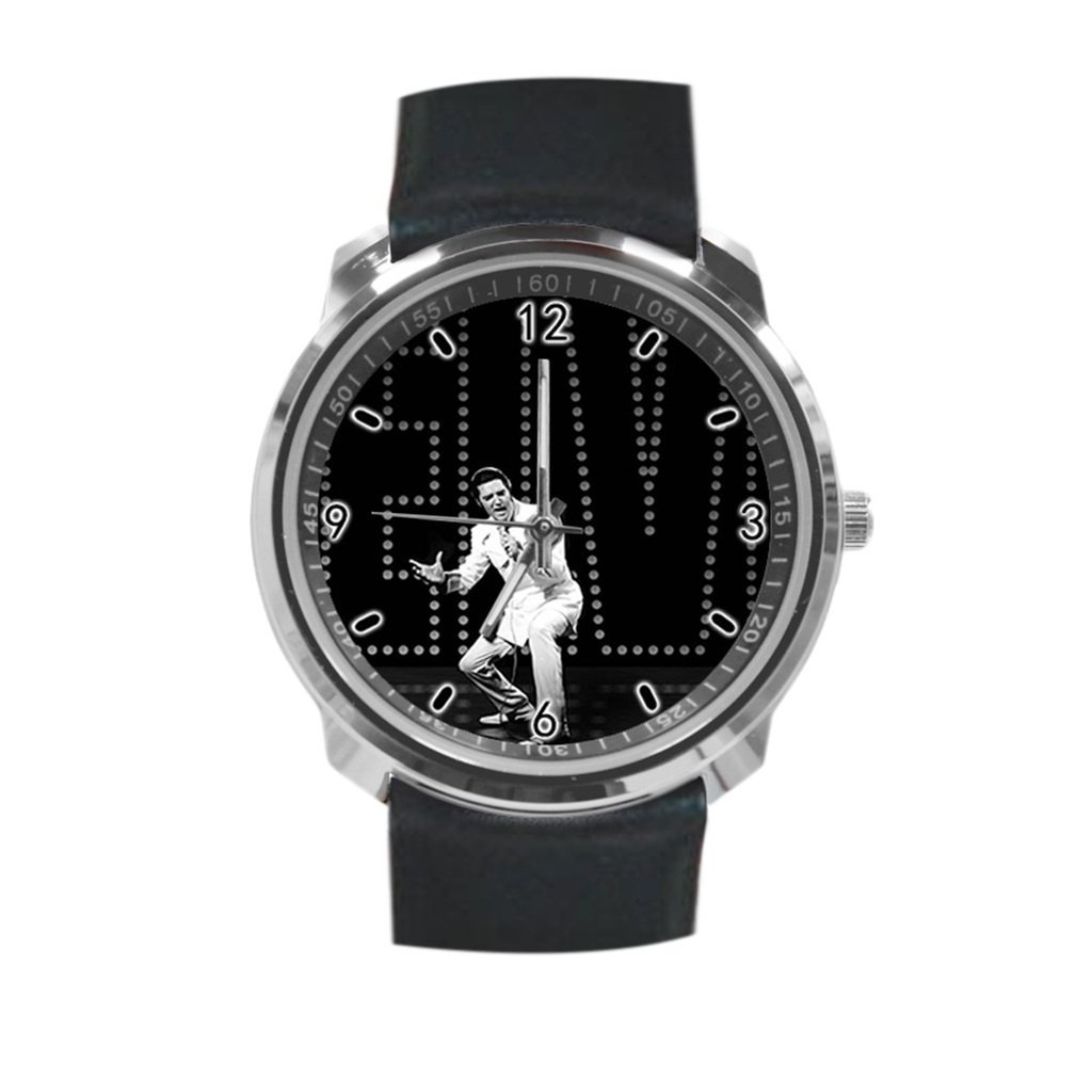 12ea640f1ff Get Quotations · Elvis Presley Unisex Classic Leather Strap Watch, Metal  Case, Tempered Glass, Black Leather