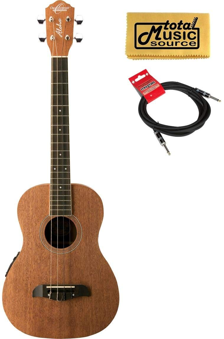 Oscar Schmidt OU52E Acoustic/Electric Baritone Ukulele w/ EQ, Cable & PC