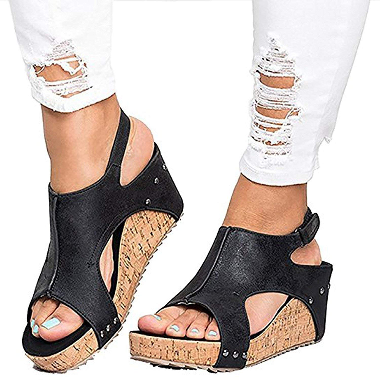5d2516f191a40 Get Quotations · Ruanyu Women Sandals Wedges Peep Toe PU Belt Buckle Rivet  Blocking Hook-Loop Fashion Wedges