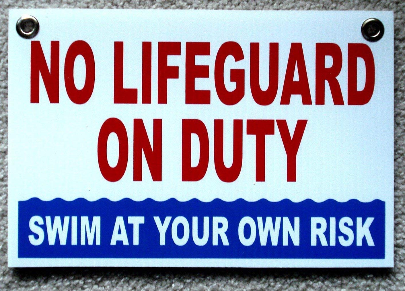 Swimming Pool Signs Swim at Own Risk Spa Sign Caution ...