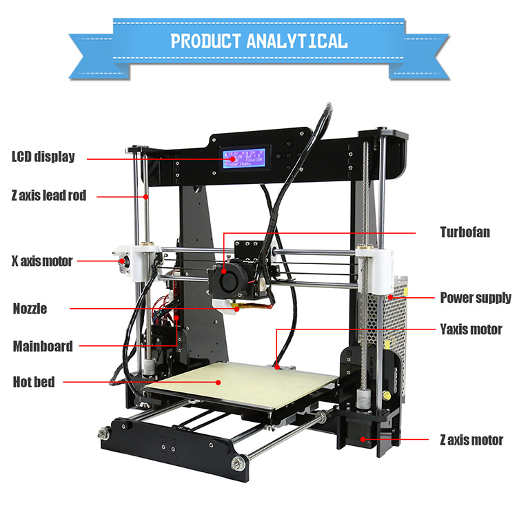 Professional Anet A8 3d desktop printer prusa i3 digital 3d printer DIY 3d printer kit