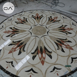 Cream marble with flower water jet design marble floor medallions patterns