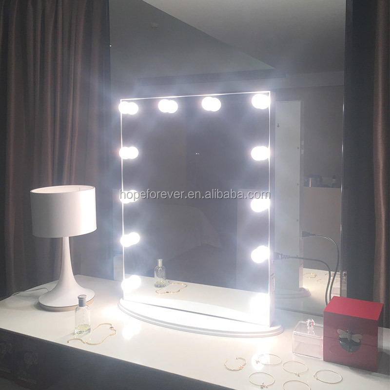 China suppliers Wall mounted square vanity makeup mirror with led bulbs