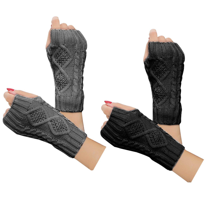 Comfspo Spring Autumn Women Wool Arm Warmers Winter Fashion Fingerless Gloves