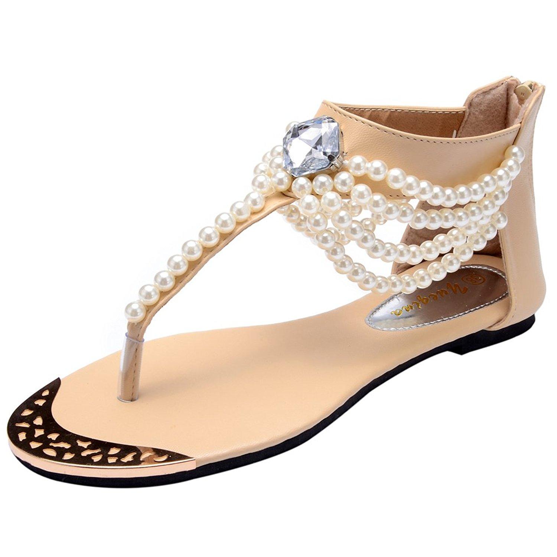9bf03424c Get Quotations · Odema Womens Flat Thong Sandals Flip Flops Sandals T-Strap  Beads Beach Zip Sandals