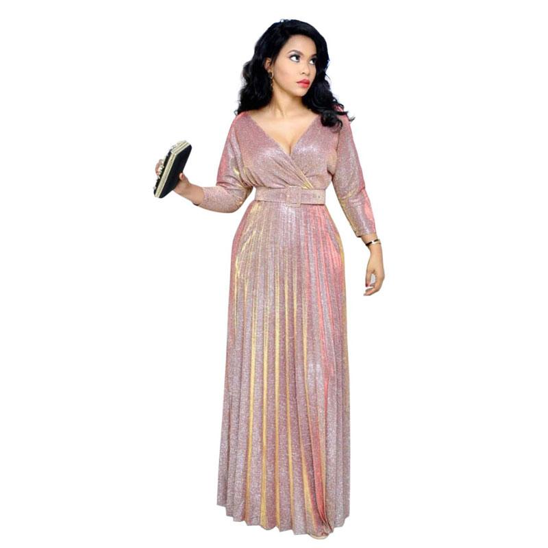 90428-MX79 elegant 3 colors pleated maxi dresses women party фото