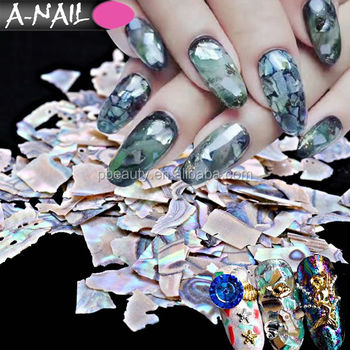 Awesome Ocean Seashell Nail Tips Glitter Design Nature Thin Crushed Sea Shell Gel Manicure Nails Art