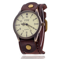 CCQ Brand Popular Vintage Watch Women Men Genuine Cow Leather Watchband