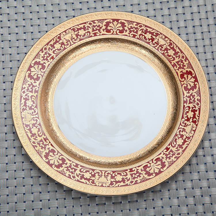 European style bone china plate Embossed gold red dinnerware oval bone china plate