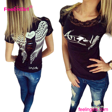 Factory price lace angel wings cheap women custom t shirt printing