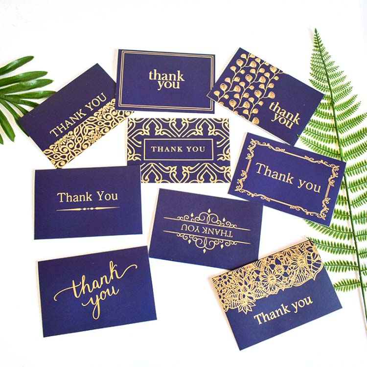 Custom Hohe Qualität Schwarz Präge Gold Folie Stempel Gruß Danke Karte