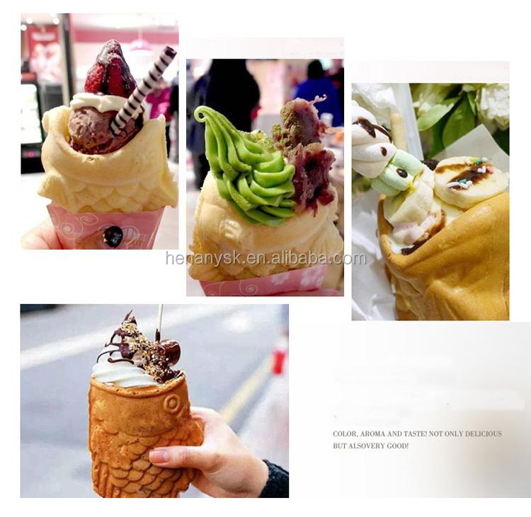 Ice Cream Cone Taiyaki Fish Cake Machine Automatic Taiyaki Commercial Taiyaki Waffle Maker