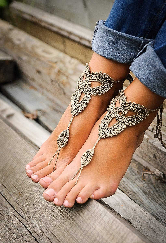 3c2239bda224b5 Get Quotations · Crochet Tan Barefoot Sandals