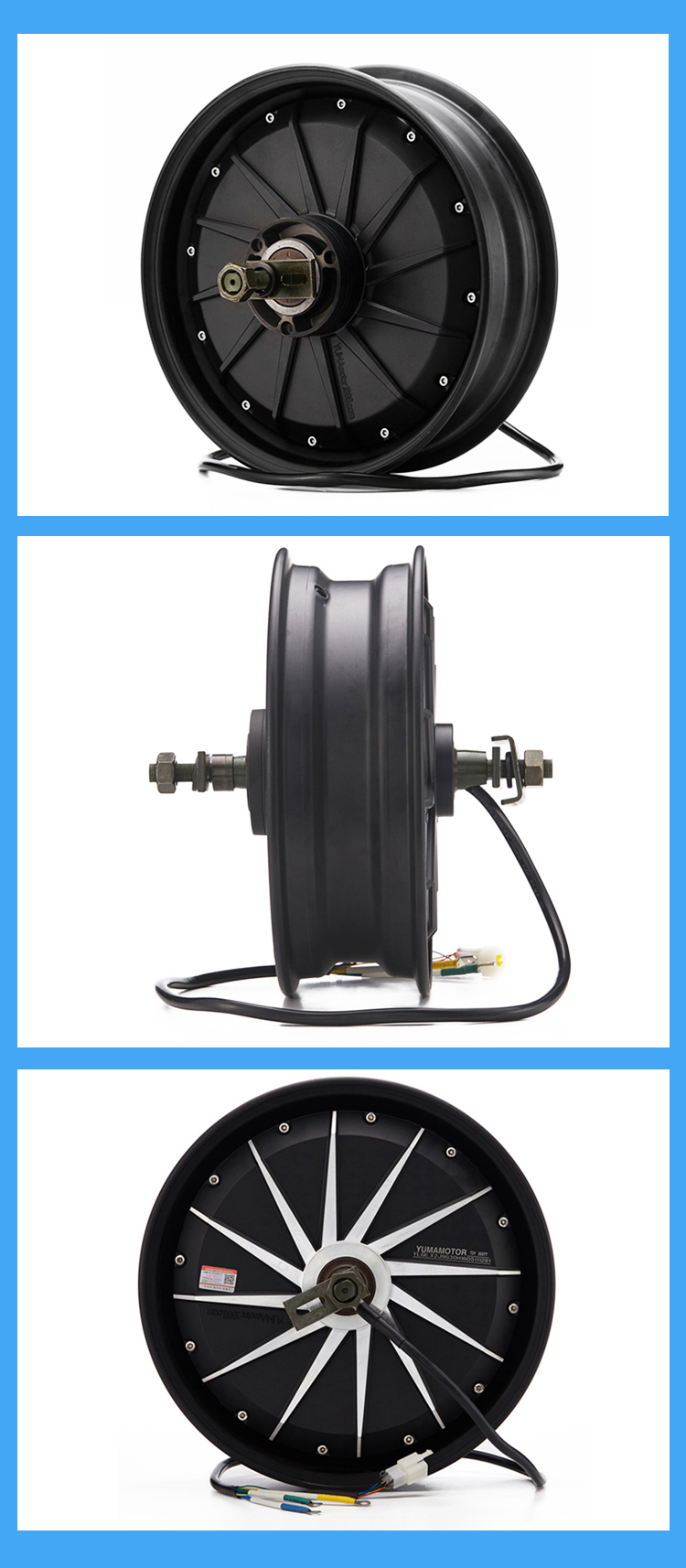12 Inch 1200w 72v Electric Motor Brushless For Motorcycle