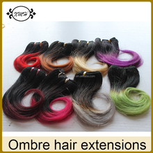 Dark Root Human Hair Highlighted Color Black/Purple/Blue/Red/Grey/Green/Yellow/Blonde Hair Weave Ombre Hair Weaves
